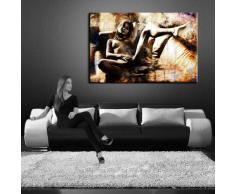 Bild auf LEINWAND AKT EROTIK GIRL abstrakt verschiedene Größen wählbar!!! gerahmt fertig auf HOLZRAHMEN Kunstdruck Wandbild auf Rahmen günstiger als Ölbild Gemälde/Poster/Plakat/kein Poster oder Plakat ( (80x60cm sephia)