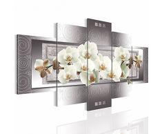 Bilder Blumen Orchidee Wandbild 200 x 100 cm Vlies - Leinwand Bild XXL Format Wandbilder Wohnzimmer Wohnung Deko Kunstdrucke Grau 5 Teilig - MADE IN GERMANY - Fertig zum Aufhängen 205451b