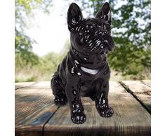 1a-Handelsagentur Dekofigur Französische Bulldogge 29cm Tierfigur Gartendeko Wachhund Dekohund Neu, Farbe:schwarz