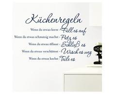 Grandora Wandtattoo Küchenregeln I dunkelblau (BxH) 58 x 36 cm I Küche Spruch Zitat Aufkleber selbstklebend ablösbar Wandaufkleber Wandsticker Sticker W957