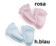 Streudeko Taufe Geburt Babyfüße Fuß Baby Satin 2cm 150 Stück Tischdeko, Farbe:hellblau