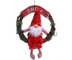 Alecony 30CM Hängender Ring des Weihnachtsdekoration Puppenkranz-Tannenbaum-Anhängers Kranz Adventskranz Weihnachtsdeko Tischdeko Wanddeko Dekoration Kunststoff Rosen Kugel (Rot)