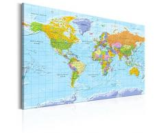 murando - Weltkarte Pinnwand 120x80 cm - Bilder mit Kork Rückwand - Set mit 50 Markierfähnchen-Pinnnadeln - Leinwandbilder - Pinnwand - Korktafel - Fertig Aufgespannt - Wandbilder XXL - Kunstdrucke - Wandbild - Lernkarte Reise