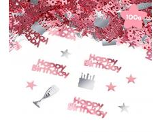 Sweelov Happy Birthday Konfetti 100g Geburtstag Streudeko Sterne Weinglas Kuchen Tischkonfetti für Feier Jubiläum Deko, Roségold Silber, über 3000 Stück