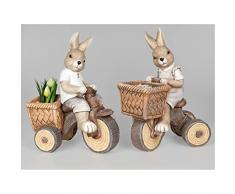 2er SET Oster Dekofiguren Hasen auf Fahrrad mit Korb H. 45cm Formano F18