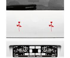 Rose 10cm Auto Fenster Spiegel Aufkleber Tattoo die cut decals vinyl selbstklebende Deko Folie Depeche Mode (2 Stück rot)