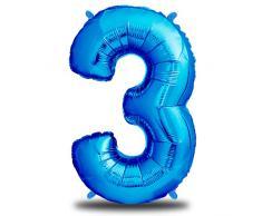 envami Luftballon Geburtstag XXL Blau - Riesen Folienballon in 40 | 101cm Geburtstagsdeko | Ballon Zahl Deko zum Geburtstag | fliegt mit Helium (Zahl 3)
