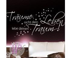 Grandora W1102 Wandtattoo Zitat Träume nicht dein Leben, Lebe deinen Traum Schlafzimmer weiß 147 x 58 cm