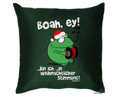Weihnachten lustige Deko Kissen mit Innenkissen - WEIHNACHTLICHE STIMMUNG Advent Geschenk Idee 40x40cm grün : )