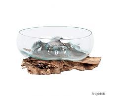 LEBENSwohnART Deko-Glas Drop-8 ca. D35cm Teak Wurzelholz Handarbeit Schale Unikat Glasschale