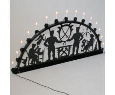 Schwibbogen Lichterbogen Metall - Motiv: Schwarzenberg - XXL 1,5 Meter Breite Außen-Bereich schwarz glänzend * riesen groß * Erzgebirge Bergmann Bergmänner