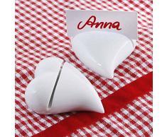 6 Stück Tischkartenhalter Herz aus Keramik