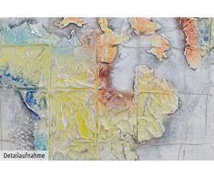 KunstLoft® Acryl Gemälde Im Wandel der Zeit 120x80cm   original handgemalte Leinwand Bilder XXL   Bunte Vintage Weltkarte Landkarte   Wandbild Acrylbild moderne Kunst einteilig mit Rahmen