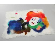Originelles buntes Filz Wandbild aus Wolle in Nassfilzen Technik handmade