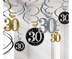 FesteFeiern zum 30 Geburtstag I 13 Teile Deckenhänger Spiralen und Tischkonfetti gold schwarz silber I Party Deko Set happy birthday 30