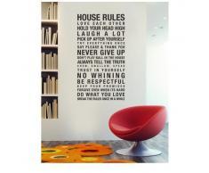 """ufengke® """"House Rules Never Give Up"""" Zitate Und Sprüche Wandsticker, Wohnzimmer Schlafzimmer Entfernbare Wandtattoos Wandbilder"""