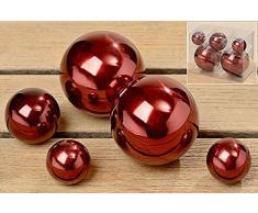 Deko - Kugel Set Galaxy aus Metall Edelstahl Farbe rot, Dekoration 5-teilig