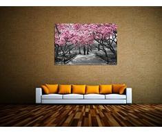 Rosa Blüten Allee! Leinwand Bilder! Wandbild! Kunst Druck! Keilrahmen A05771 Größe 120 x 80 cm
