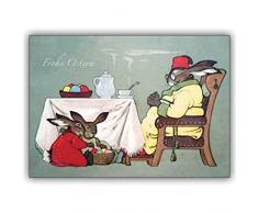 4 Osterkarten (4er Set): klassische Klappkarte als Oster Gruß: Das Oster Frühstück
