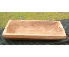 Deko-Impresion Große Holzschale, Holzmolle, Holz-Tablett massiv, schwer 54 x 31 cm