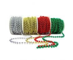 Set 4 Stück Perlenband Perlenkette Perlengirlande Perlenschnur Hochzeitskette Weihnachten Advent Hochzeit Deko Tischdeko (S-P6-4X-SGRG) (0,50€/m)