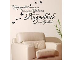 WANDTATTOO Sprüche/Zitate ***Vergangenheit ist Geschichte,...*** inkl. Schmetterlinge (Motiv 2, 80 cm)
