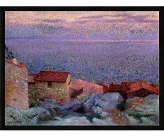 Gerahmtes Bild von Henri Edmond Cross Maritime Landschaft, Kunstdruck im hochwertigen handgefertigten Bilder-Rahmen, 100x70 cm, Schwarz matt