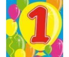Folat Partyservietten Zahl 1 Ballondesign 20 St. Geburtstag Deko Party Servi