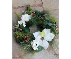 Künstlicher Tannen-Kranz mit Poinsettia und Rose, weiß, Ø 50 cm - Türkranz / Tischkranz - artplants