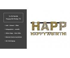 Feste Feiern Geburtstagsdeko 70. Geburtstag | 8 Teile Deko-Set Luftballon Girlande Tischkonfetti Gold Schwarz Silber metallic Party Happy Birthday 70