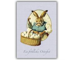 10 Osterkarten (10er Set): Nostalgische Osterkarte mit Hasenmutter zum Osterfest