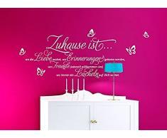Grandora Wandtattoo Sprüche und Zitate Zuhause ist I weiß (BxH) 120 x 52 cm I Flur Wohnzimmer modern Spruch Aufkleber selbstklebend Wandsticker Wandaufkleber W3058