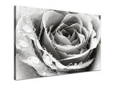 LANA KK - Leinwandbild Liebe BW mit Blumen auf Echtholz-Keilrahmen – Frühling und Natur Fotoleinwand-Kunstdruck in schwarz, einteilig & fertig gerahmt in 100x70cm