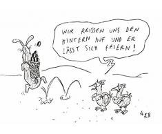Postkarte A6 • 39512 Er lässt sich feiern von Inkognito • Künstler: Hauck & Bauer (H&B) • Cartoons • Ostern