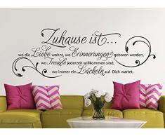 Grandora® W942 Wandtattoo Zitat Zuhause ist wo die Liebe wohnt… schwarz (BxH) 120 x 42 cm