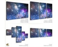 LANA KK - Leinwandbild Der Weltraum Weltall & Sterne auf Echtholz-Keilrahmen – Fotoleinwand-Kunstdruck in blau, einteilig & fertig gerahmt in 60x40cm