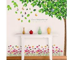 WALPLUS Wandsticker Wandtattoo Paper Art Dekoration Grüne Fallende Blätter Rosa Bunte Blumen