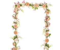 YQing Künstlich Pfingstrose Blumengirlande,183cm Unechte Blumen Girlande gemischte Rosen mit Grüne Blätter Pfingstrose Blumen Deko für Hochzeit Esstisch nach Hause Party Dekor