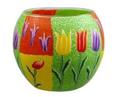Himmlische Düfte Geschenkartikel CC26 Frühling mit Tulpen Windlicht Glas 11 x 11 x 9 cm, bunt