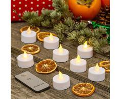 XMASKING 8 Tea Light batteriebetrieben LED warmweiss Flammeneffekt, Fernbedienung ON/Off, Innenbeleuchtung, LED-Teelichter, Weihnachtsbeleuchtung