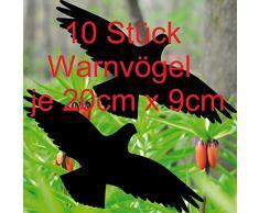 10 Stück 20cm schwarz Vogel Aufkleber die cut Tattoo Warnvögel Fenster Schutz Deko Folie