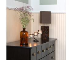 Relaxdays Kerzenhalter Gusseisen dreifach HBT 15,5 x 25 x 9,5 cm Kerzenständer aus Metall mit Gläsern für 3 Teelichter oder Kerzen kleiner Kerzenleuchter mit Windlicht, braun