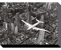 1art1 63904 New York - Douglas DC-4 Flugzeug Über Manhattan Poster Leinwandbild Auf Keilrahmen 80 x 60 cm