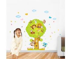 WALPLUS Tier Affe Baum Kinderzimmer Wandsticker Aufkleber Papier Kunst Dekoration