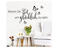 Grandora W5172 Wandtattoo Spruch Nimm Dir Zeit I weiß (BxH) 100 x 45 cm I Flur Wohnzimmer Aufkleber selbstklebend Wandaufkleber Wandsticker