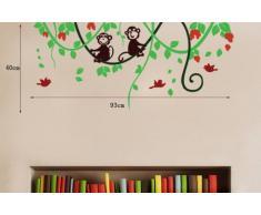 Walplus - Kinderzimmer Wandaufkleber Affe Im Dschungel Baum Kunst Wandsticker
