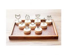 WINOMO 9 Stück Fotohalter Tischkartenhalter Tischdekoration Memohalter Memo Clip mit Holzständer