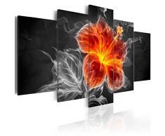 Bilder - 3 Farben zur Auswahl ! Fertig Aufgespannt TOP Vlies Leinwand - 5 Teilig - Abstrakt Blumen Fire Feuer Wand Bild Bilder Kunstdrucke Wandbild 020101-261 100x50 cm B&D XXL