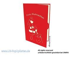 LIN POP UP 3D Weihnachtskarten Weihnacht Weihnachtsmann Geschenk (de)
