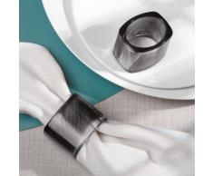 iDesign Tor Trois 4er-Set Serviettenringe | Design Serviettenhalter in moderner Optik | Servietten mit Serviettenring präsentieren | Kunststoff schwarz
